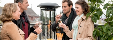 Heat and ambiance: People enjoy a cold winterday.